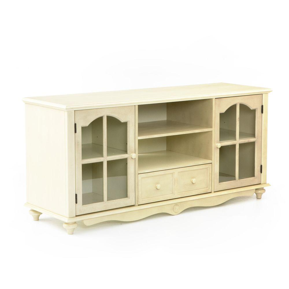 Southern Enterprises Coventry Antique White Storage Entertainment Center