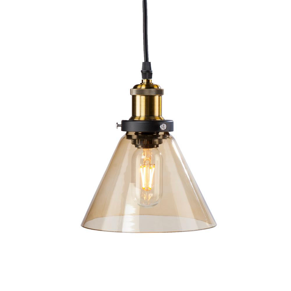 Cillian 1-Light Amber Colored Glass Mini Pendant Lamp