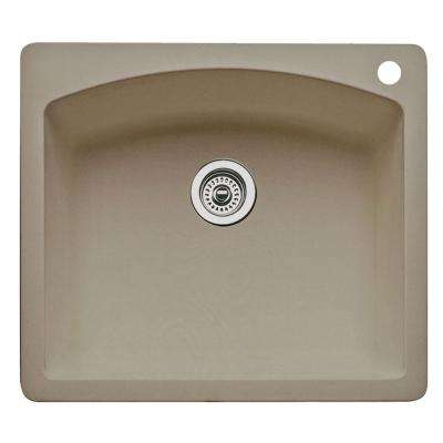 Diamond Dual Mount Granite 25 in. 1-Hole Single Bowl Kitchen Sink in Truffle