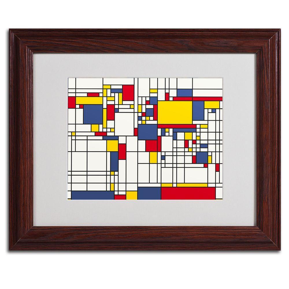 Trademark Fine Art 11 in. x 14 in. Mondrian World Map Matted Framed Art