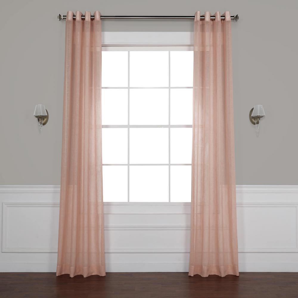 Bashful Pink Grommet Solid Faux Linen Sheer - 50 in. W x 108 in. L