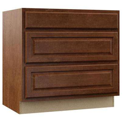 Hampton Assembled 36x34.5x24 in. Pots and Pans Drawer Base Kitchen Cabinet in Cognac