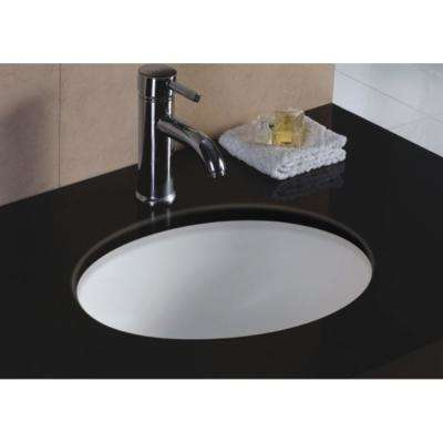 17 in. x 14 in. x 8 in. Oval Vitreous Ceramic Lavatory Single Bowl Undermount in White