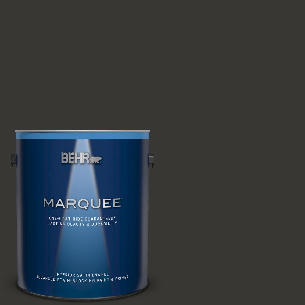 Behr marquee 1 gal black one coat hide satin enamel interior paint and primer in one 745301 for Behr interior paint and primer in one