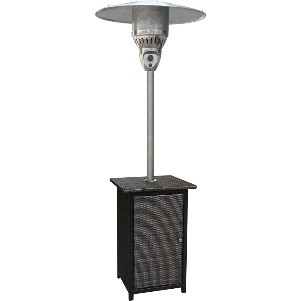 Hanover Square Wicker Propane Patio Heater in Brown/Stainless Steel