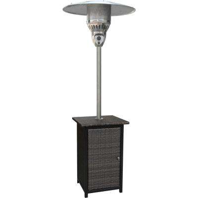 7 ft. 41,000 BTU Brown Stainless Steel Square Wicker Propane Gas Patio Heater