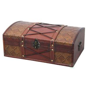 14 in. x 9 in. x 5.5 in Wooden Pirate Treasure Chest/Box with Faux Leather X