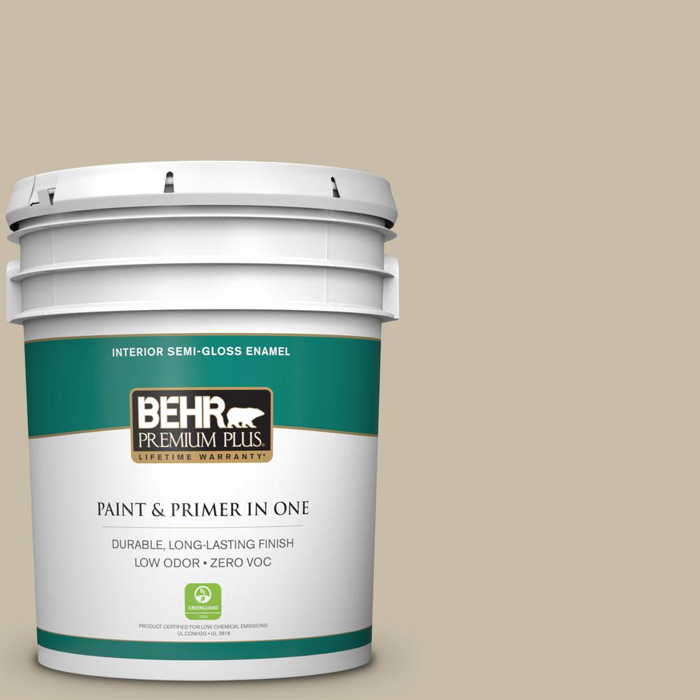 BEHR Premium Plus 5-gal. #ECC-64-1 Jungle Khaki Zero VOC Semi-Gloss Enamel Interior Paint