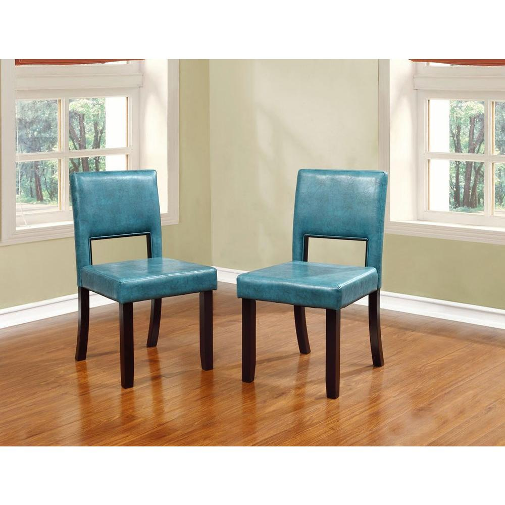 linon home decor vega aegean blue pu dining chair set of 2 14052blu02u the home depot. Black Bedroom Furniture Sets. Home Design Ideas