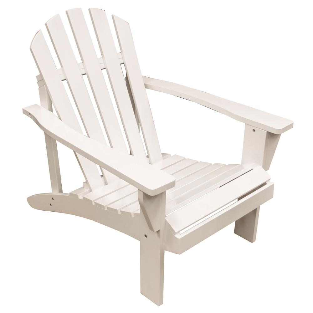 Amerihome White Reclining Wood Adirondack Chair With Painted 802474 The Home Depot