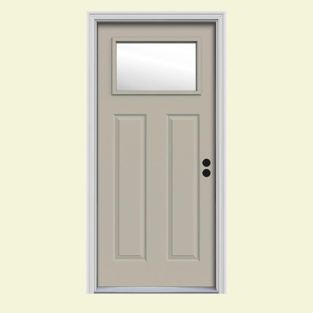 34 in. x 80 in. 1 Lite Craftsman Desert Sand Painted Steel Prehung Left-Hand Inswing Front Door w/Brickmould