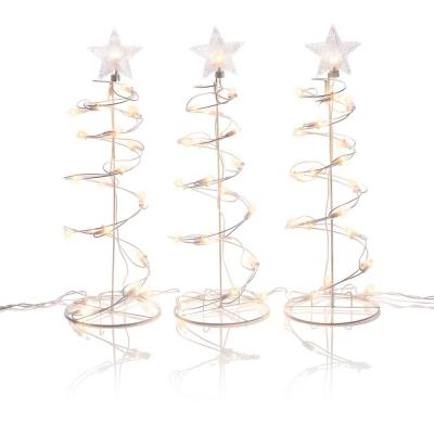 19 in. Tall Spiral Christmas Tree Decor with LED Lights, (Set of 3)
