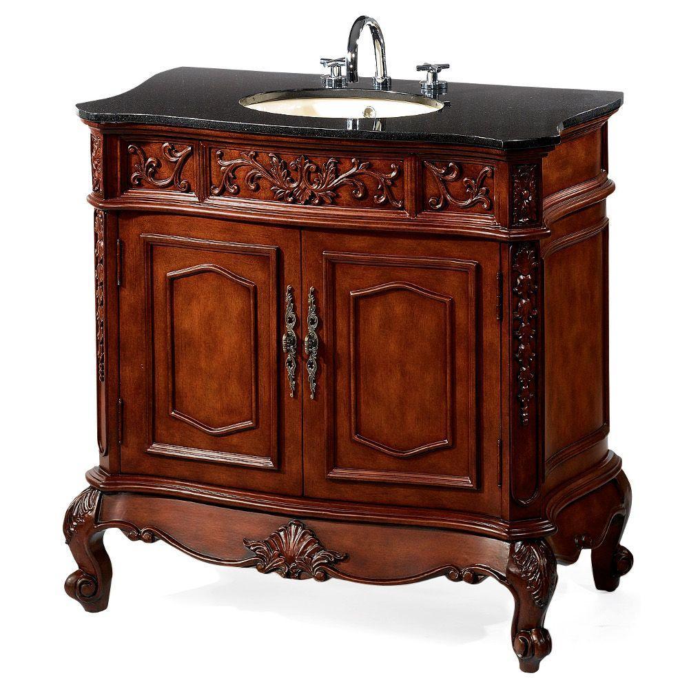 Home Decorators Collection Winslow 43 in. W x 20.5 in. D Vanity in Antique Cherry with Granite Vanity Top in Black