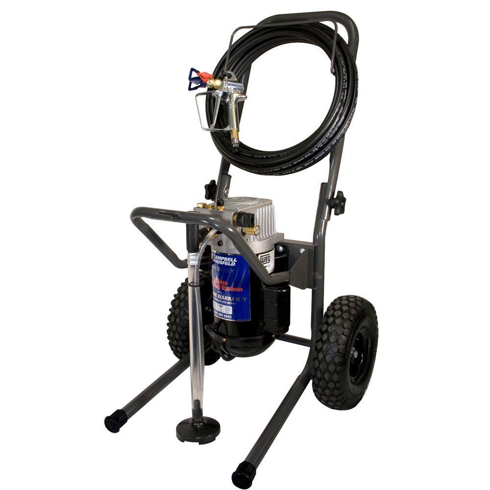 Campbell Hausfeld 1 HP, .44 GPM, Airless Paint Sprayer w/50' Hose, 5 ft. Whip, Pro Gun & 517 tip, fold-down cart