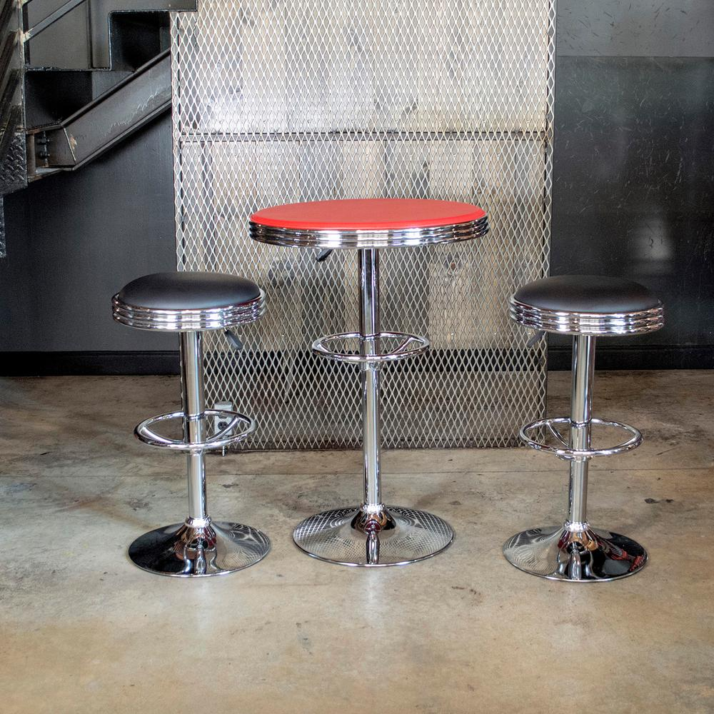 Amerihome Vintage Style Soda Shop Bar Table Set In Red And
