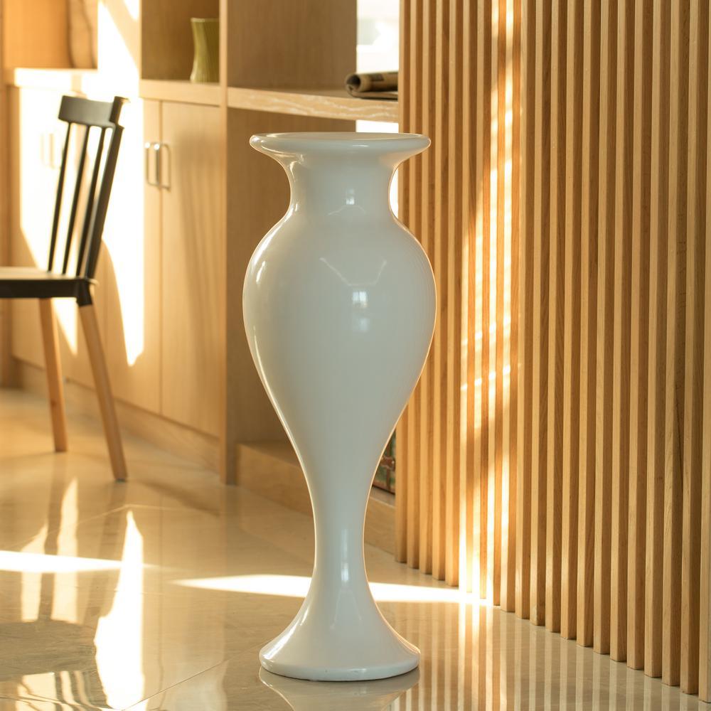 33 in. White Large Round Trumpet Modern Fiberglass Freestanding Flower Vase