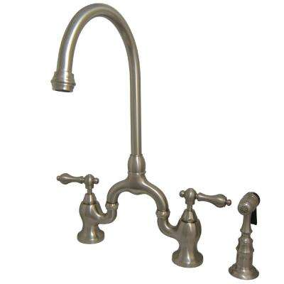 Country 2-Handle Bridge Kitchen Faucet with Side Sprayer in Satin Nickel
