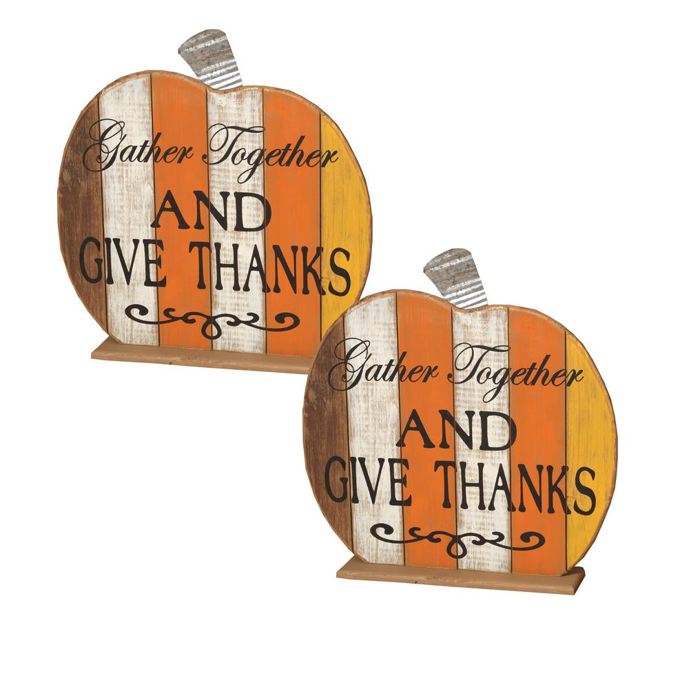 14.75 in. Tabletop Harvest Pumpkin (Set of 2)