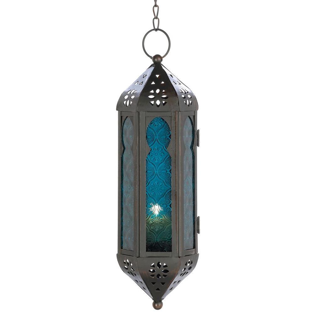 Malibu Creations Blue Moroccan Candle Lantern