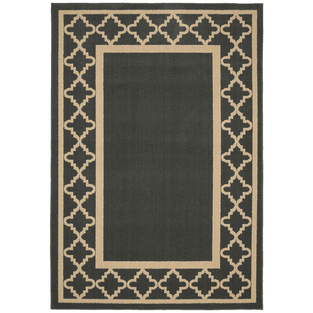 Moroccan Frame Cinder/Tan 5 ft. x 7 ft. Area Rug