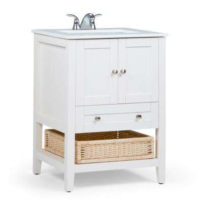 Newbury 24 in. Bath Vanity in Pure White with Engineered Quartz Marble Vanity Top in White with White Basin