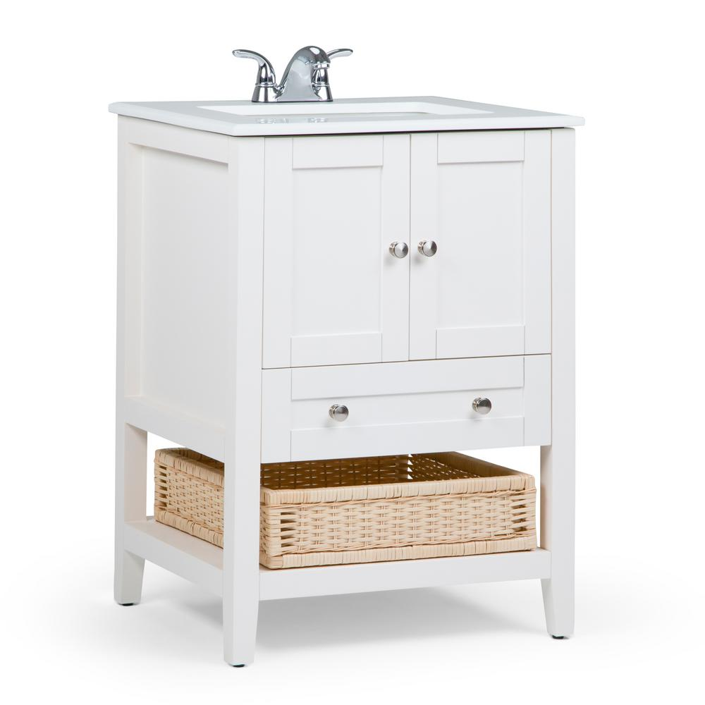 Simpli Home Cape Cod 24 in. Vanity in Off White with Quartz Marble ...