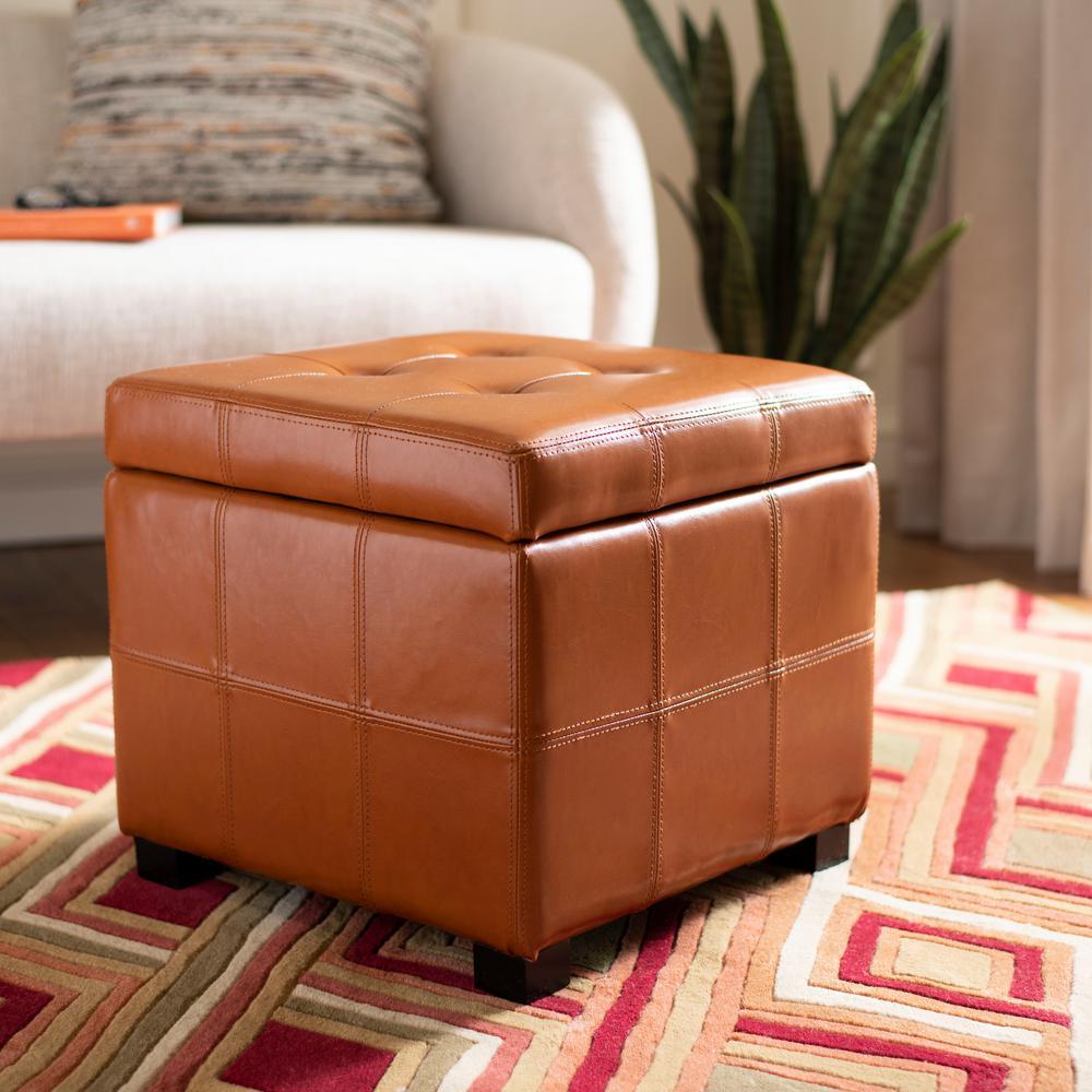 Orange round ottoman Upholstered Maiden Saddle Storage Ottoman The Home Depot Orange Ottomans Living Room Furniture The Home Depot
