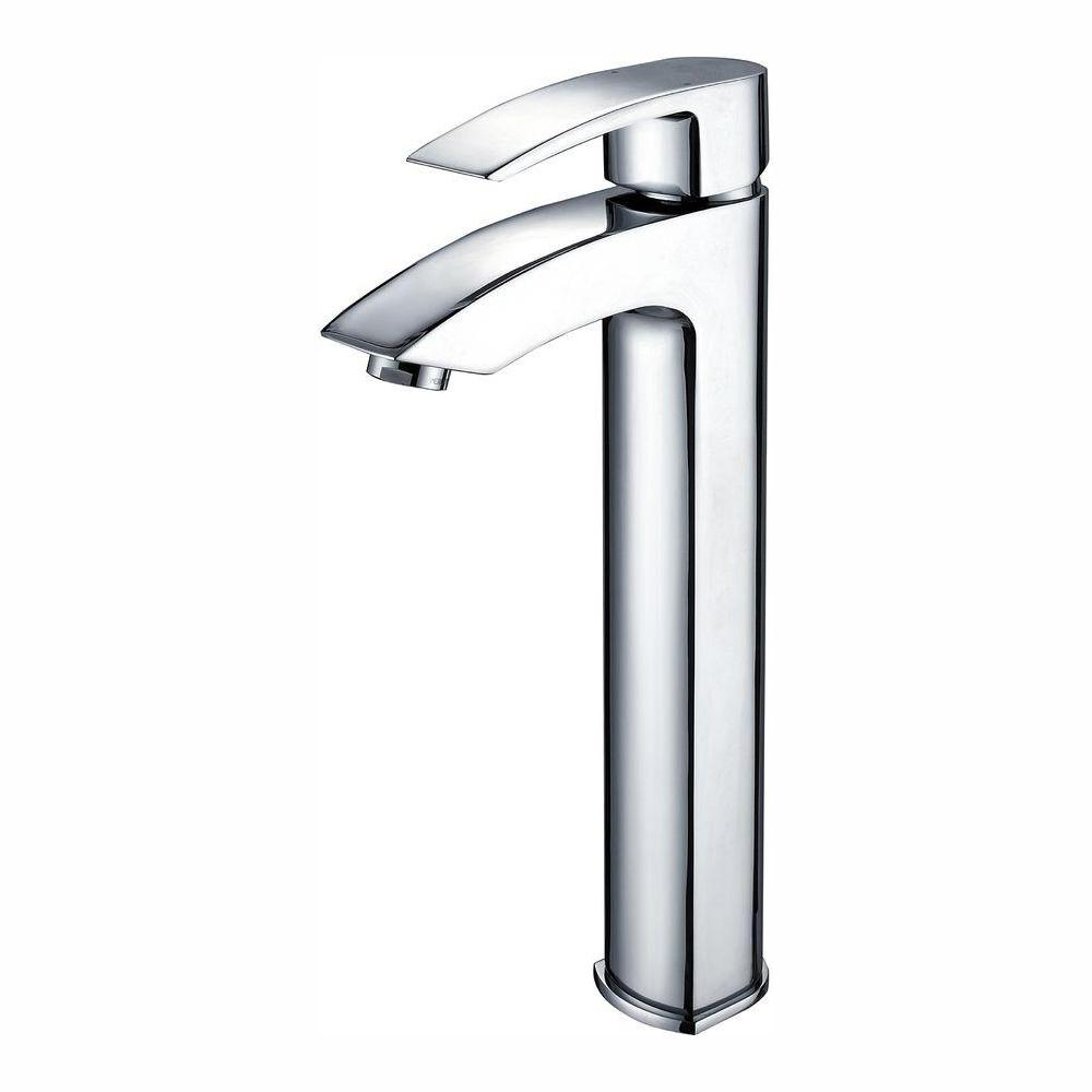 KRAUS KRAUS Visio Single Hole Single-Handle Vessel Bathroom Vessel Faucet in Chrome, Grey