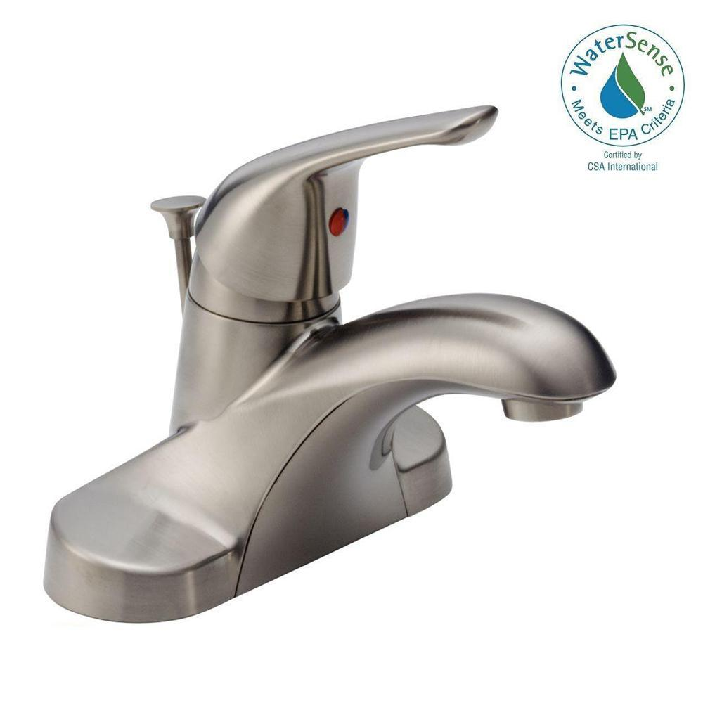 Delta Foundations 4 In Centerset Single Handle Bathroom Faucet In Stainless B510lf Ssppu Eco