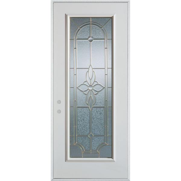 36 in. x 80 in. Traditional Patina Full Lite Prefinished White Right-Hand Inswing Steel Prehung Front Door