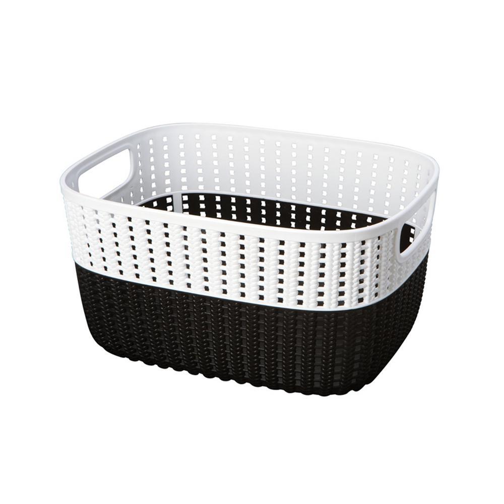 15 in. x 11 in. x 7 in. 2-Tone Decorative Large Storage Basket in Black
