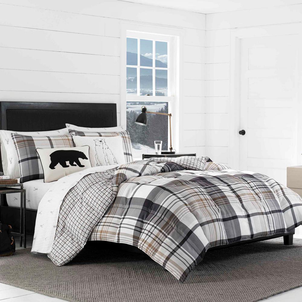 Normandy 3-Piece Black Plaid King Comforter Set