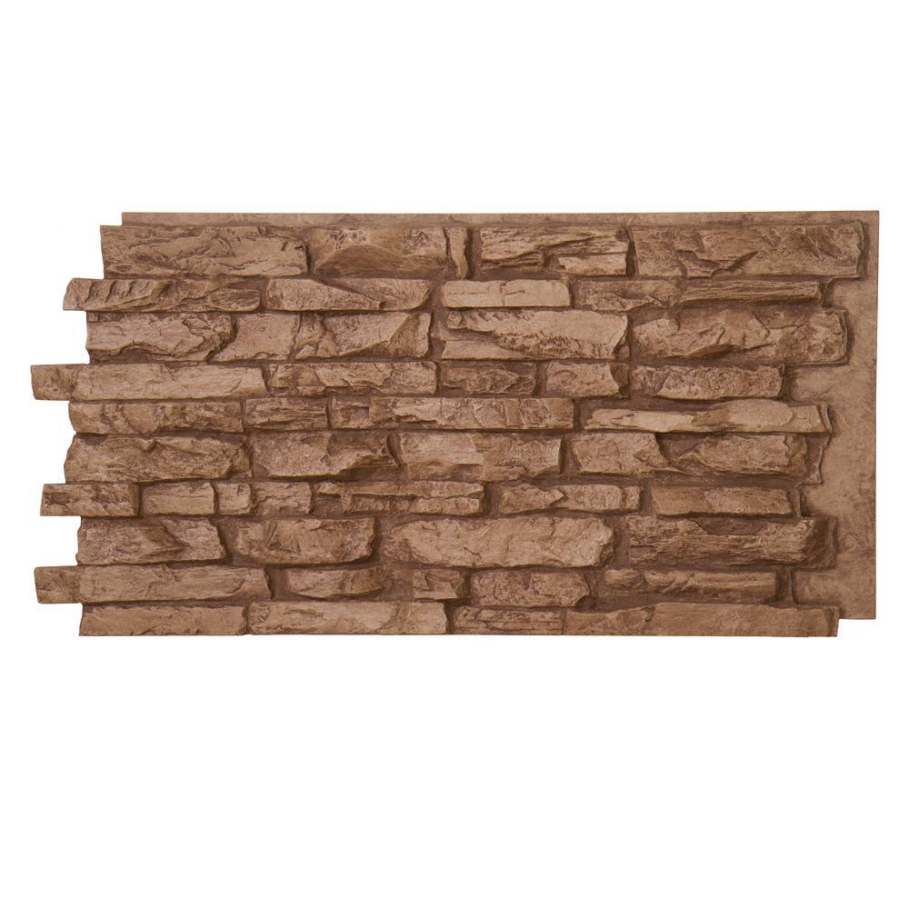 Denalia Faux Stone Panel 1-1/4 in. x 48 in. x 24 in. Cinnamon Polyurethane Interlocking Pane