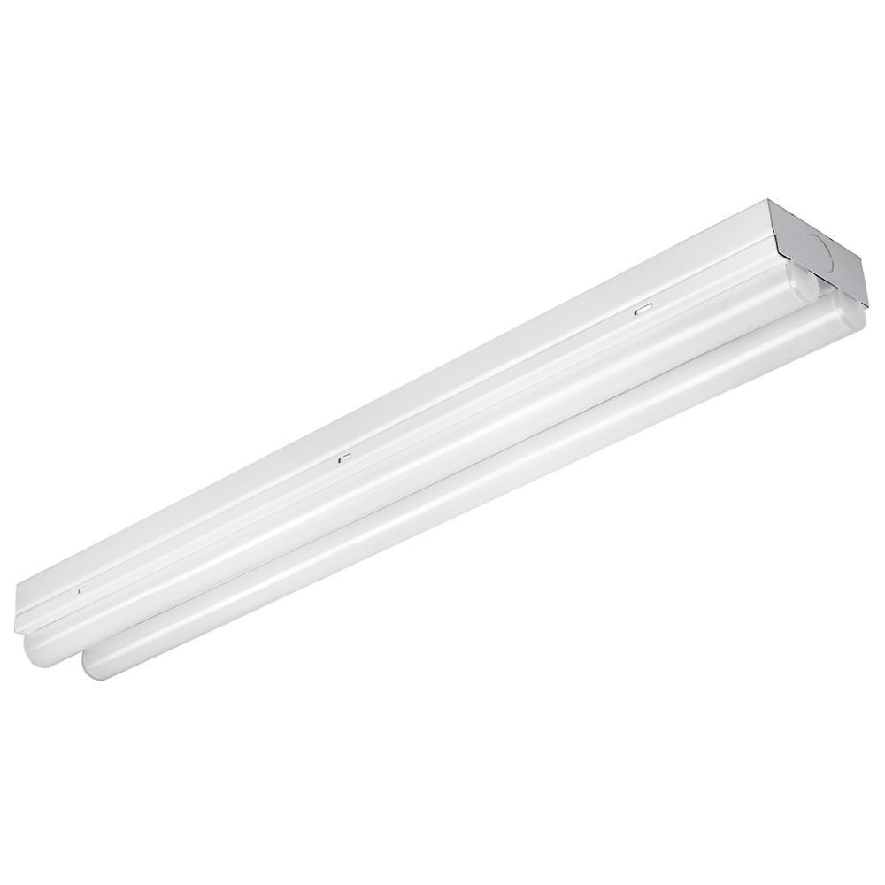 2 ft. 120-Watt Equivalent Integrated LED Warm White (3000K) White Linear Dual Strip Flush Mount Light Fixture