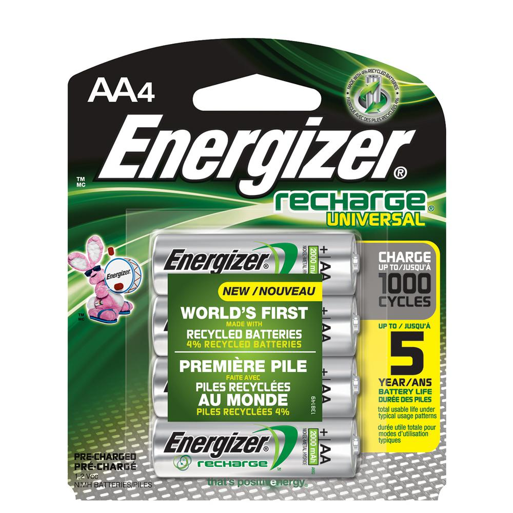 Energizer Energizer Rechargeable AA Batteries, NiHM, 2000 mAh, Pre-Charged, 4-Count (Recharge Universal)