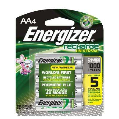 Energizer Rechargeable AA Batteries, NiHM, 2000 mAh, Pre-Charged, 4-Count (Recharge Universal)
