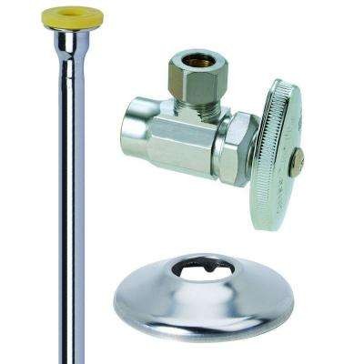 Toilet Kit: 1/2 in. Nom Sweat x 3/8 in. O.D. Comp Brass Multi-Turn Angle Valve with 12 in. Riser and Flange