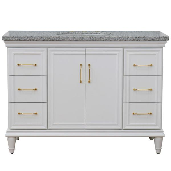 49 in. W x 22 in. D Single Bath Vanity in White with Granite Vanity Top in Gray with White Rectangle Basin