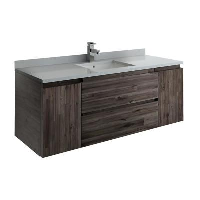 Formosa 54 in. Modern Wall Hung Vanity in Warm Gray with Quartz Stone Vanity Top in White with White Basin