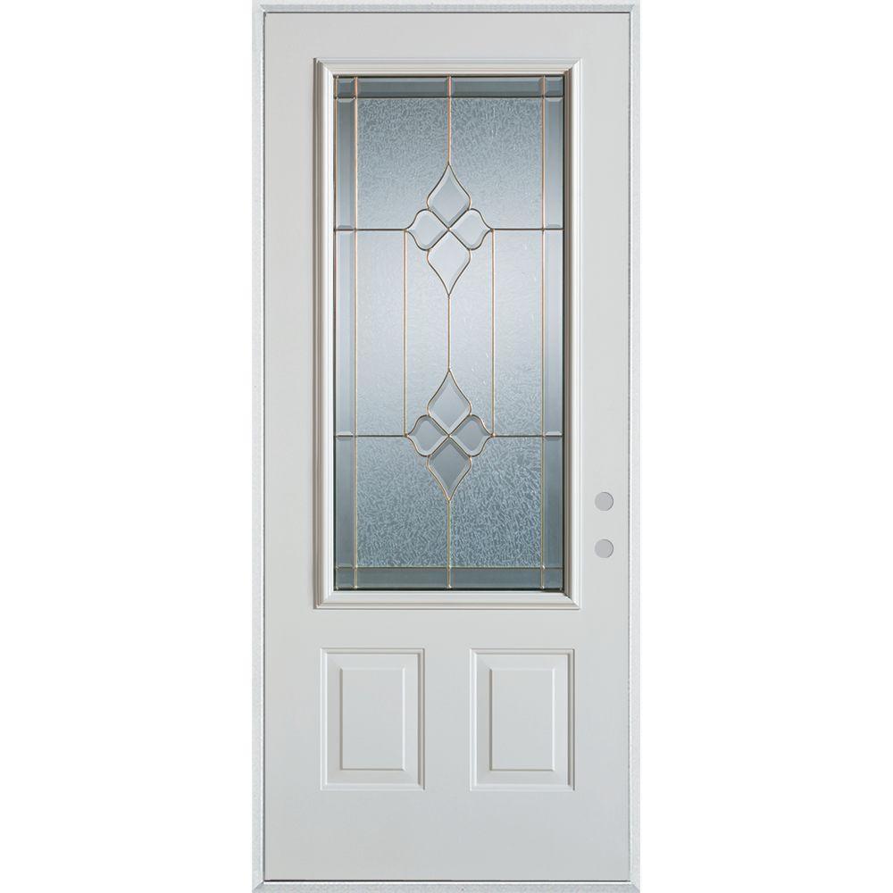 37.375 in. x 82.375 in. Geometric Brass 3/4 Lite 2-Panel Painted White Left-Hand Inswing Steel Prehung Front Door