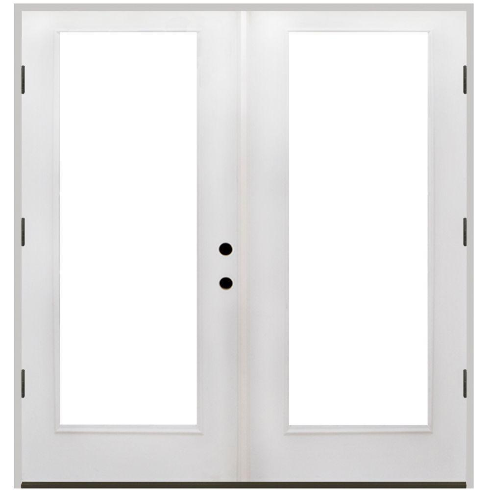 Steves Sons 48 In X 80 In Primed White Fiberglass Prehung Right Hand Outswing Full Lite