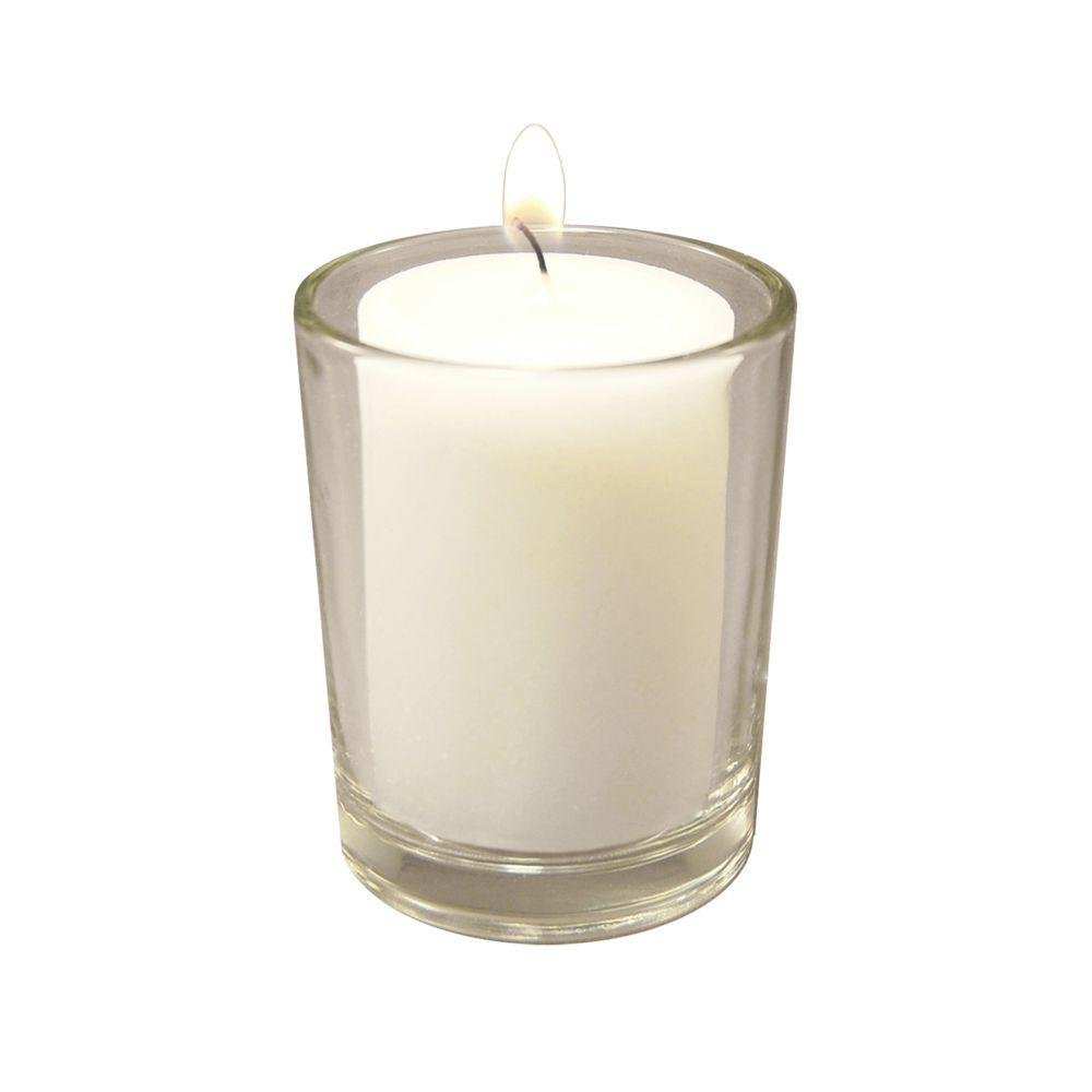 36-Count 15-Hour Votive Candles with 12 Clear Glass Holders