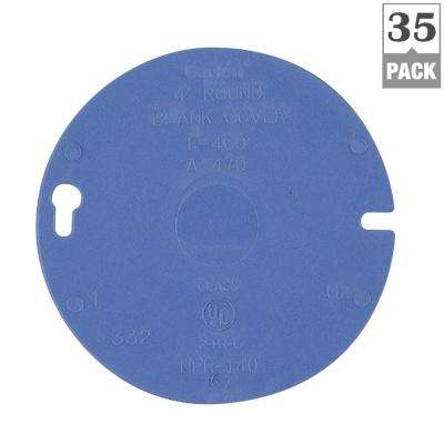 4 in. Round Blank PVC Electrical Box Cover (Case of 35)
