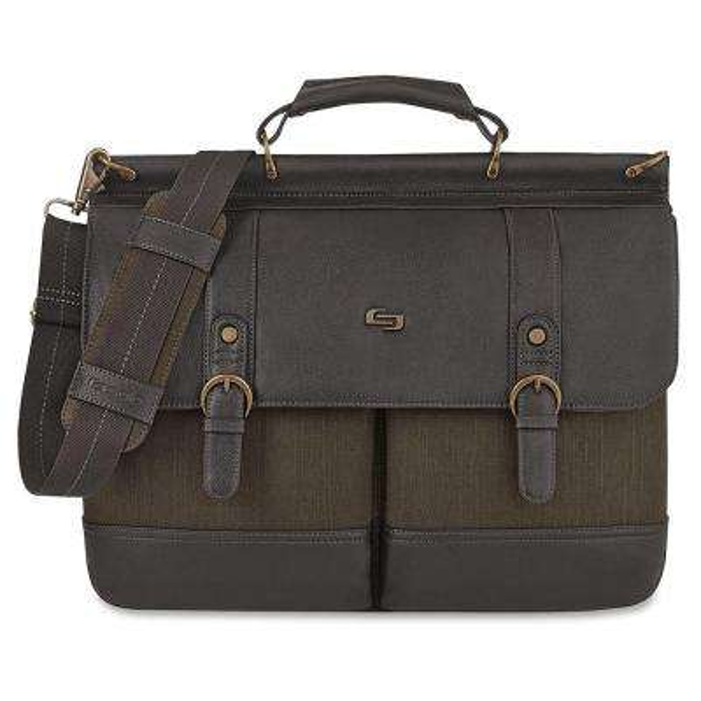 15.6 in. Dark Brown Cotton/Vinyl Executive Notebook Briefcase