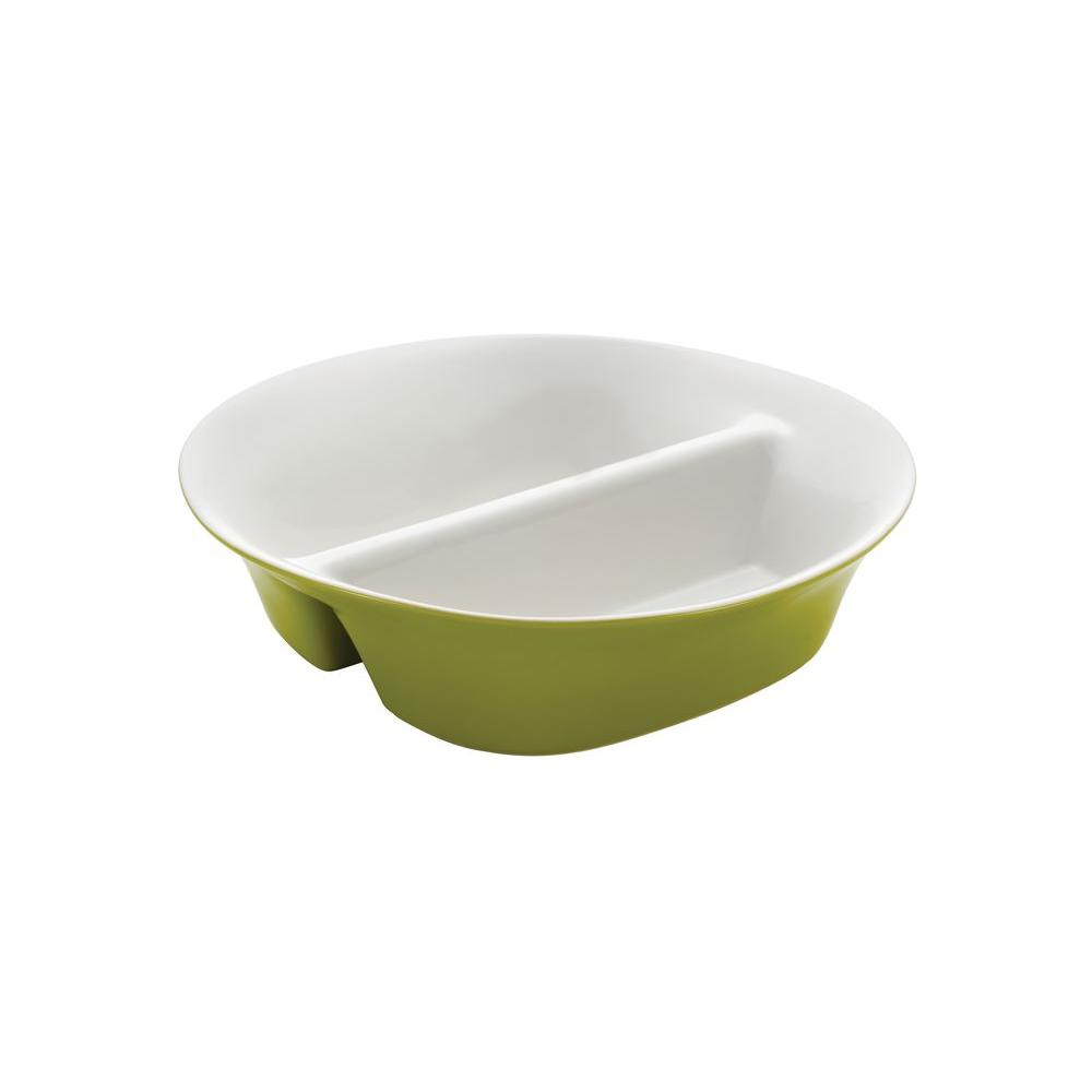 Rachael Ray 12 in. Round and Square Divided Dish in Green