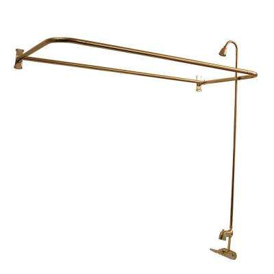 2-Handle Claw Foot Tub Faucet with Riser and 60 in. Rectangular Shower Ring in Polished Brass