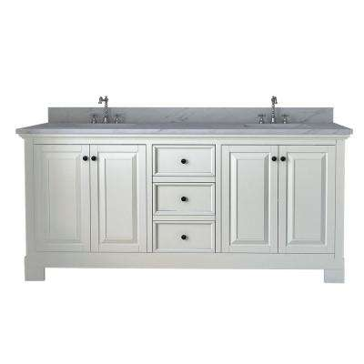 Richmond 72 in. W x 22 in. D Double Vanity in White with Marble Vanity Top in White with White Basin