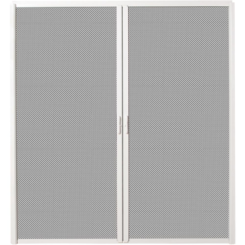 72 in. x 80 in. White Aluminum Inswing Retractable Double Screen