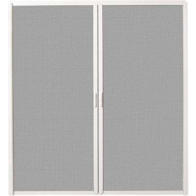 72 in. x 80 in. White Aluminum Inswing Retractable Double Screen Door