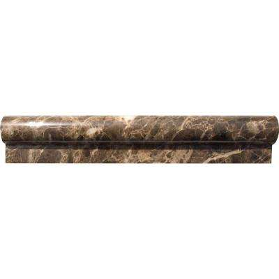 Emperador 2 in. x 12 in. Polished Marble Rail Molding Wall Tile